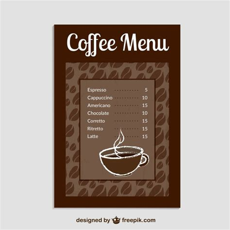 coffee menu template vector free