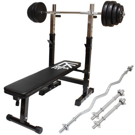 curl bar bench mirafit weight liting set gym bench barbell dumbbells