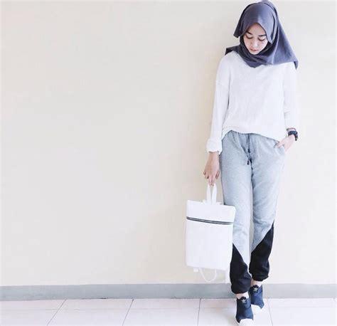Setelan Keren Hoodie Putih mix and match baju dan trendy untuk ramadhan unik