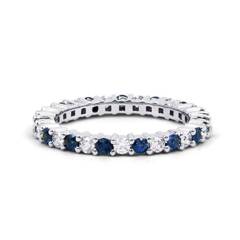 real blue sapphire diamond eternity ringband  ct