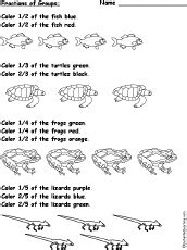 worksheets fractions of groups color fractions of animal groups worksheet enchantedlearning