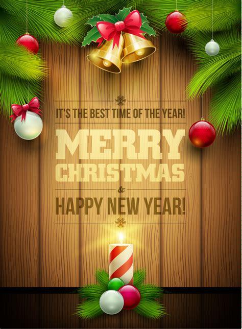 merry christmas bell pine wooden vector  vector graphic