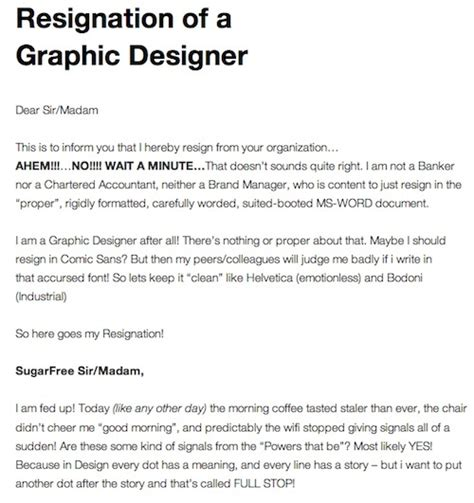 thank you letter after graphic design a graphic designer s resignation letter humor really