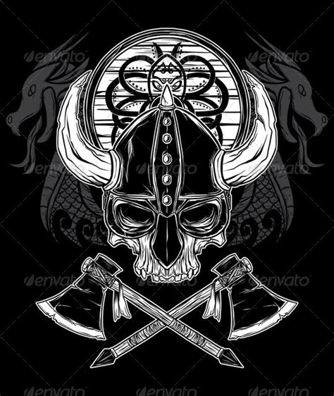 vector hand drawn viking skull axe and shield by