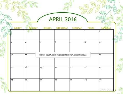 april 2016 calendar shining mom printable calendars 2016 calendar template 2016