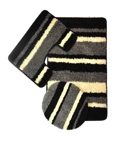 Black Bathroom Rug Set by Avalon 3 Bath Rug Set Black Moshells