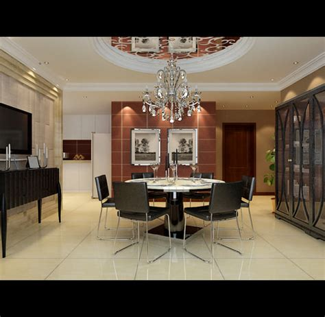 Modern Dining Room 3d Model Modern Dining Room With Marble Floor Fully 3d Model