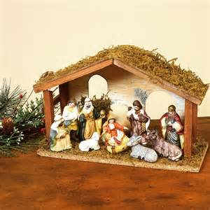 gerson 11 pc porcelain nativity set with wood creche in