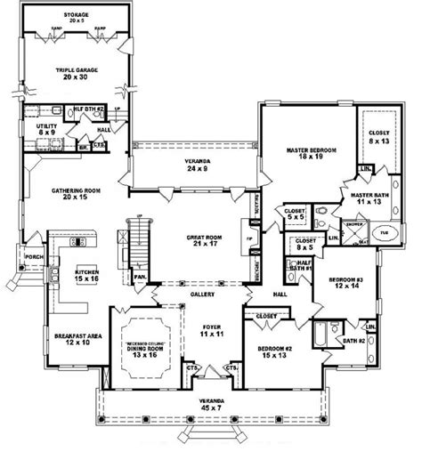 5 Bedroom Floor Plans 1 Story 653903 1 5 Story 5 Bedroom 4 Baths 2 Half Baths Louisiana Plantation Style House Plan