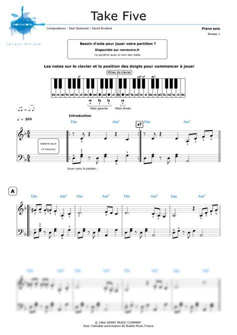 tutorial piano take five partition piano take five dave brubeck partitions