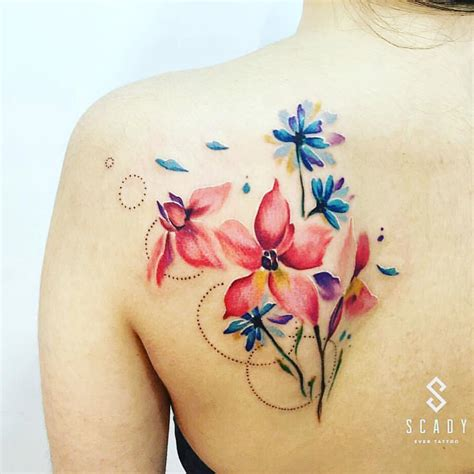 colorful tattoos for females colorful flower tattoos for females mothers days
