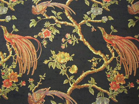 bird upholstery fabric italian peacock bird tapestry upholstery fabric black ebay