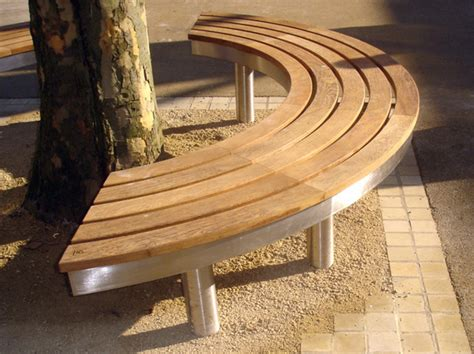 wooden curved bench curved stainless steel and wood bench tree access tree
