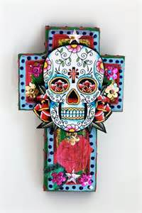 Day Of The Dead Home Decor by Mexican Sugar Skull On Wooden Cross Roygbiv Pink Baby Blue