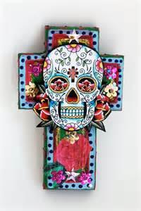 sugar skulls home decor mexican sugar skull on wooden cross roygbiv pink baby blue