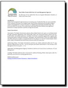 Forest Worker Cover Letter by Sustainable Northwest New Authorities For Land Management Agencies