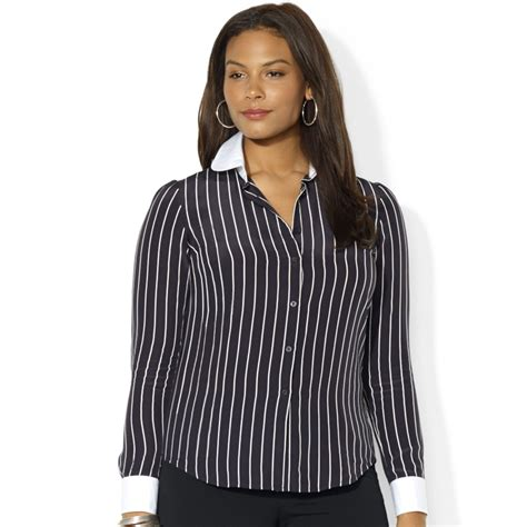 by ralph plus size striped silk blouse in black lyst