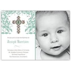 Spanish Trellis Cross Trellis Boy Photo Baptism Invitations Paperstyle