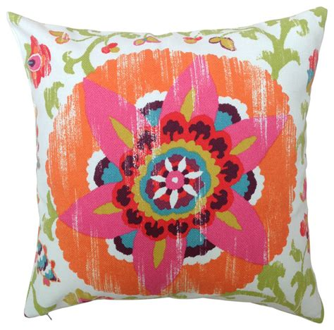 Patio Cushions Tropical Print Suzani In Orange And Pink Outdoor Cushion Tropical