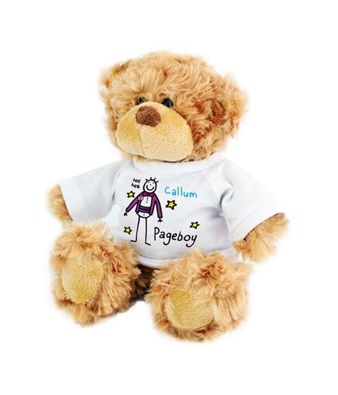 personalised teddy bear purple ronnie pageboy just