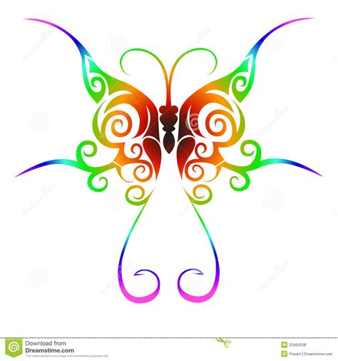 colorful tribal butterfly tattoo stock vector image