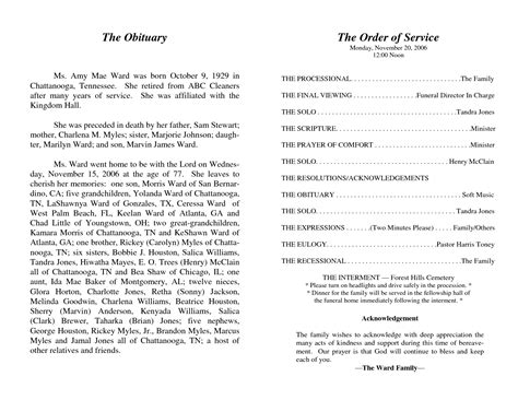 order of service for funeral template best photos of obituary tribute exles memorial sle