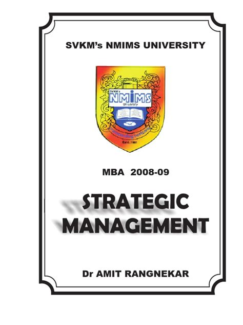 General And Strategic Management Mba by Notes Strategic Management Mba 2008 09 Mergers And