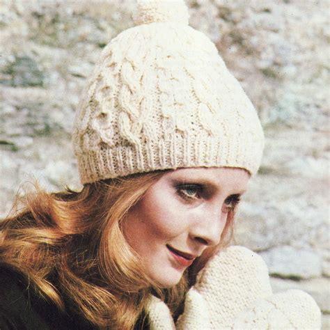 aran knit hats free patterns instant pdf vintage knitting pattern aran hat and