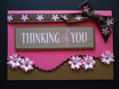 Handmade Thinking Of You Cards - thinking of you handmade card pretty in pink brown with