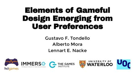 design elements of a play elements of gameful design emerging from user preferences