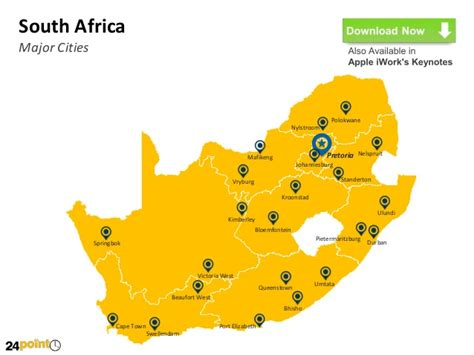 Outline Map Of South Africa With Major Cities by South Africa Editable Ppt Map