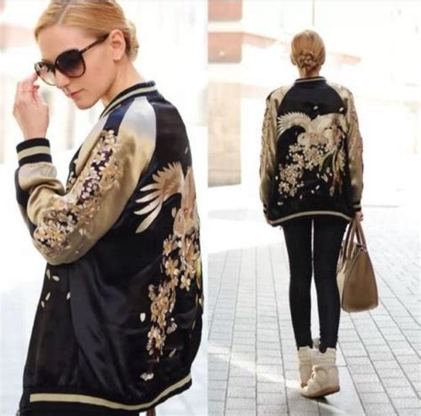 Jaket Parka Zen Floren 1 zara gold black silk satin bomber jacket reversible bird embroidered satin jackets