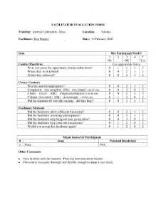 facilitator evaluation form template course evaluation template forms fillable