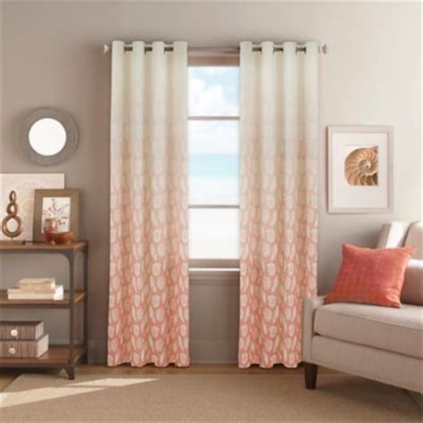 coral bedroom curtains buy seascape grommet top 84 inch window curtain panel in