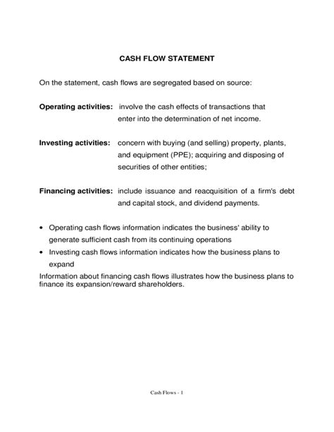 cash flow statement format ts grewal cash flow statement template free download