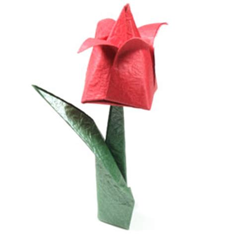 Origami Flowers With Stems - how to make a traditional origami stem page 6