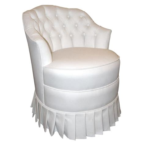 Upholstered Vanity Chair white cotton upholstered vanity chair with pleated skirt at 1stdibs