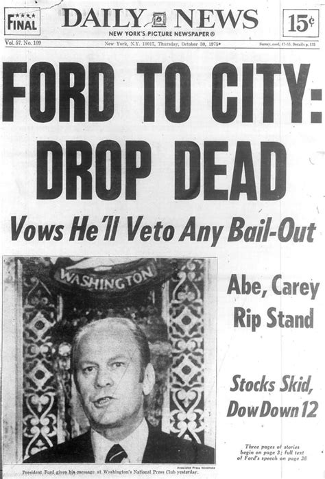 fort times newspaper ford to city drop dead in 1975 ny daily news