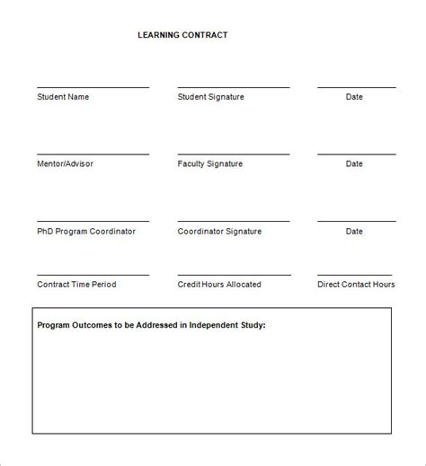 learning templates 7 learning contract templates free word pdf documents