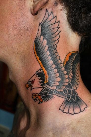 eagle tattoo on the neck traditional eagle neck tattoo by dan power tattoonow