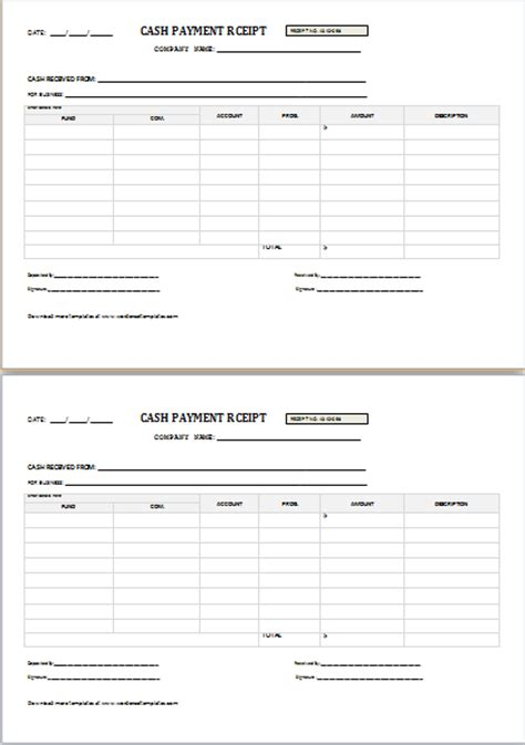 cash payment receipt  word word excel templates