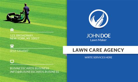 free lawn care business card template for photoshop