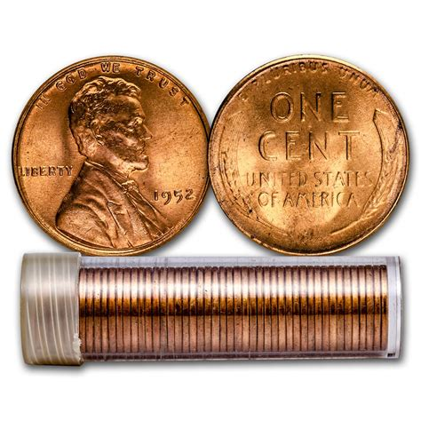 1952 lincoln cent 50 coin roll bu lincoln wheat cents 1909 1958 rolls bags apmex
