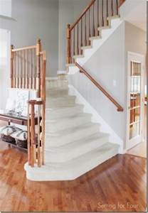 How To Restain Wood Banister How To Makeover Your Stairs Tips To Replace Carpet And