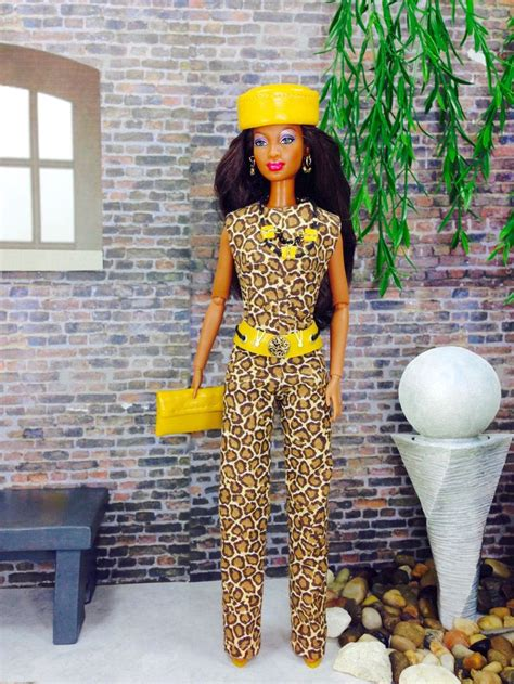 cheetah pattern jumpsuit with belt jumpsuit for barbie doll animal print design barbie doll