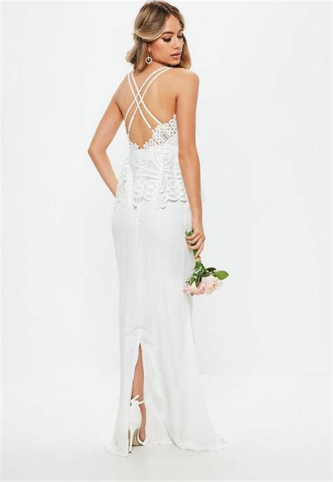 Gamis White Maxi white lace peplum maxi dress missguided