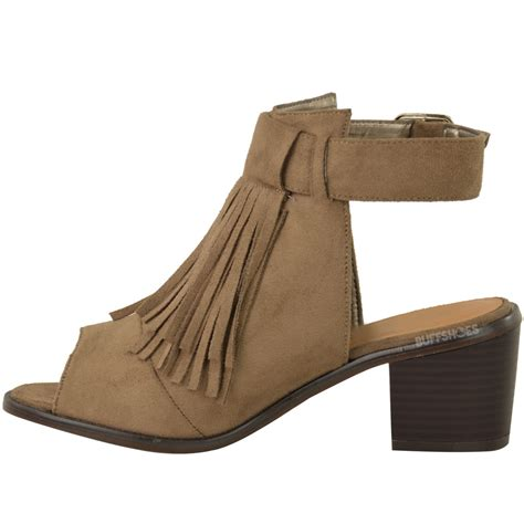 new womens low block heel sandals summer tassel