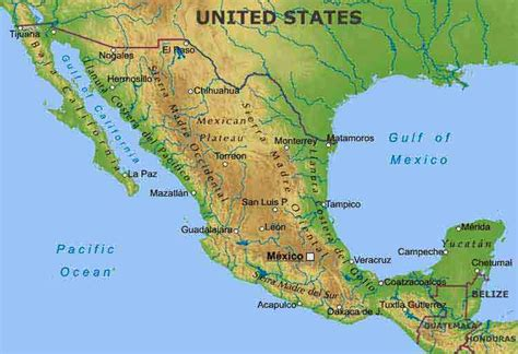 physical map of mexico ljhskblair physical map of mexico