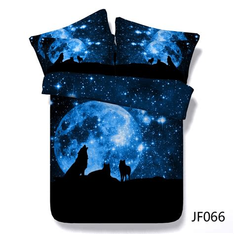 Bedcover Illusions Disperse 180 Japana wolf pack and blue moon hd digital print 3d bedding set buy bed linen 3d 3d bed cover set