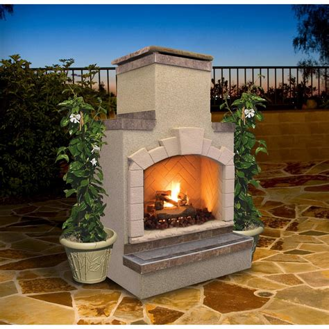 cal flame 48 inch outdoor propane gas fireplace with stack